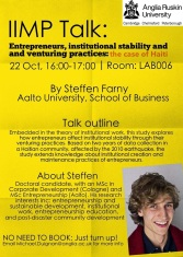 Steffen Talk poster (Oct 22, 2014, 4-5pm)